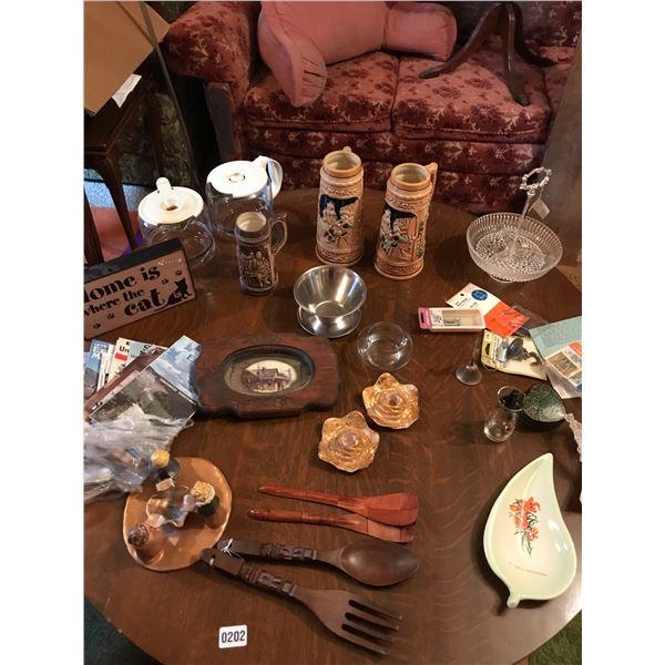 Japanese Porcelain Beer Steins, 2 Coffee Pots, Wooden Salad Spoons, Vintage Maps & Home Decor Etc.