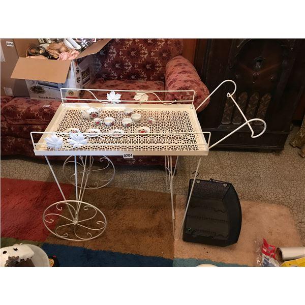 Ivory Metal Tea-cart, Miniature Children;s Tea Set & Metal Basket