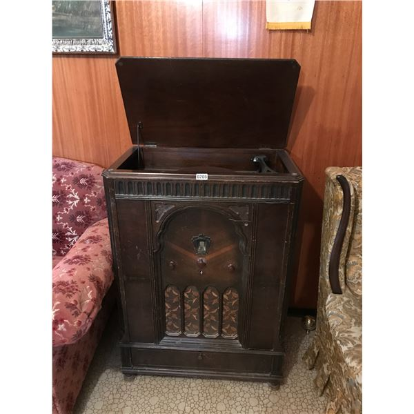 Antique Record Player Cabinet & Philco Radio Model 296