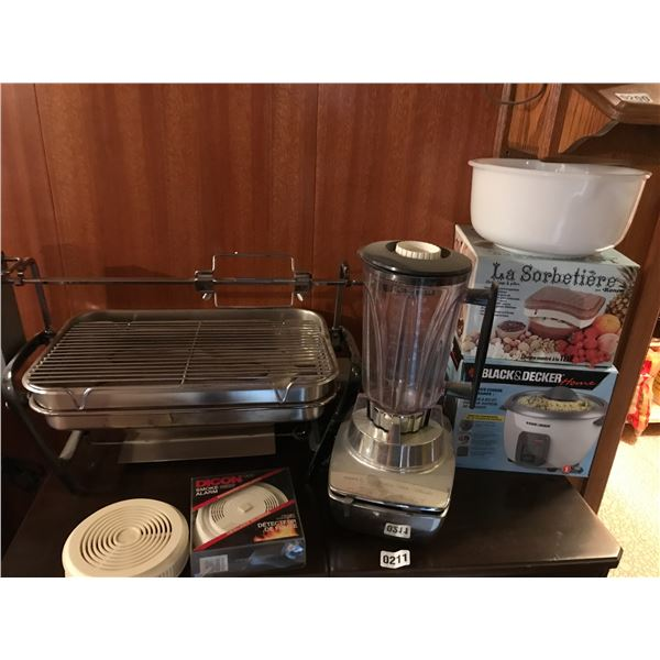 Phillis Blender, Rotissiere, Rice Cooker, Ronco Ice Cream Maker, & Smoke Detectors