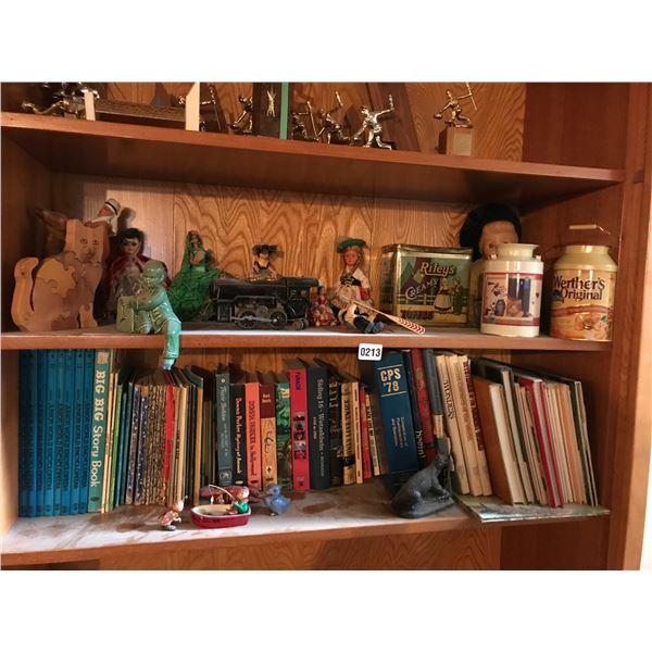 Dolls, Wood Cat Puzzle, Asian Figurine, Tins & Mini Steam Engine Etc.