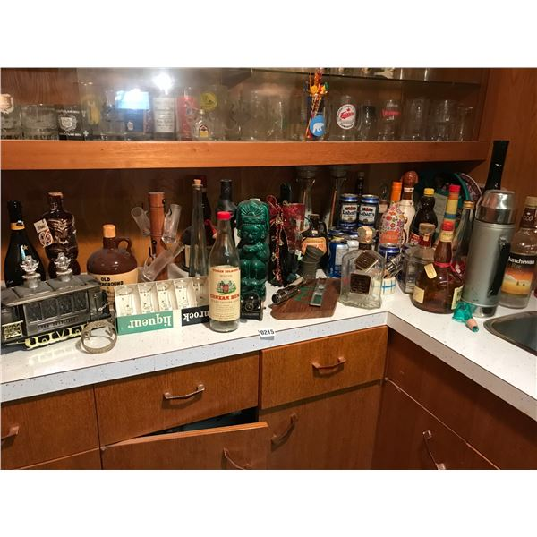 Empty Collectible Alcohol Bottles, Bar-ware & Glassware