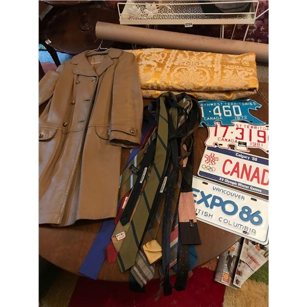 Ladies Vintage Leather Coat, 4 License Plates, Gold Tablecloth & Vintage Ponoka Map