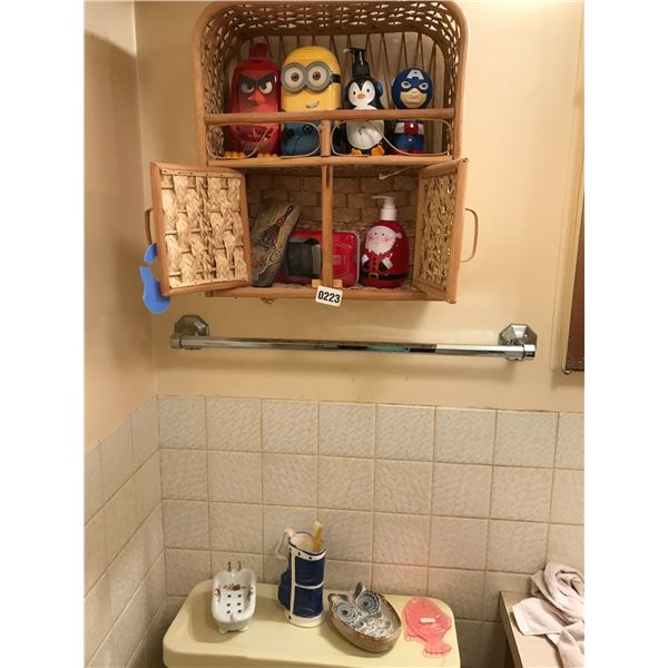 Rattan Wall Rack, Assorted Soap Dishes & Dispensers