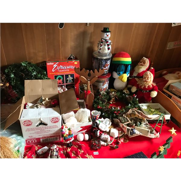 Huge Christmas Collection including Wood Reindeer & Vintage Santa's/Decorations