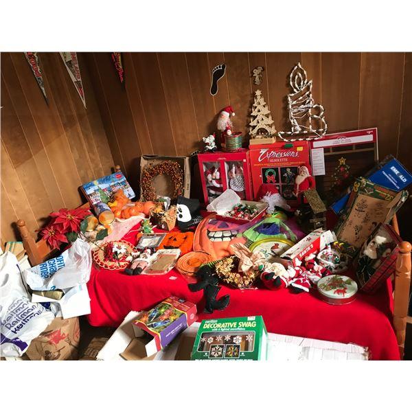 Large Halloween & Christmas Decor including 7 1/2' Pine Christmas Tree
