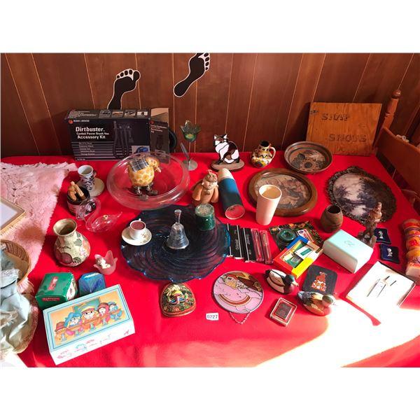 Stained Glass Cat, Dirtbuster, Pens, Ducks, Windguard Lighter & Various Home Decor