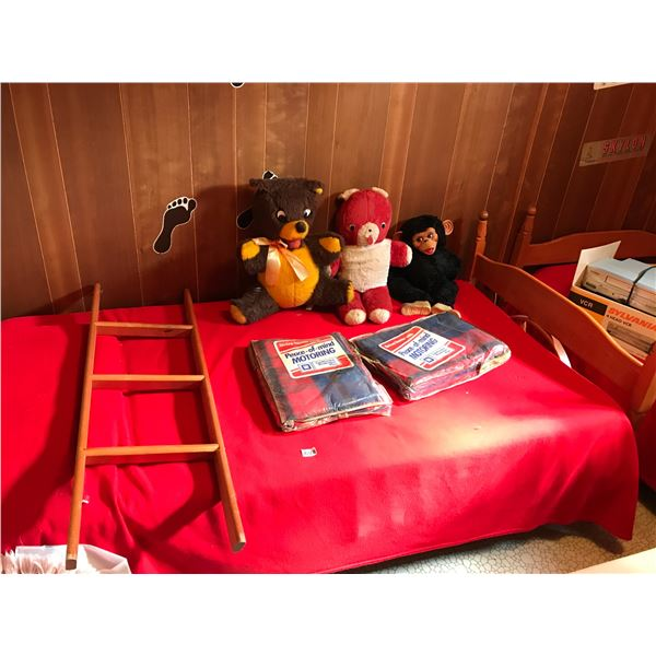 Two Wooden Beds with Wood Ladder and 3 Vintage Stuffed Animals