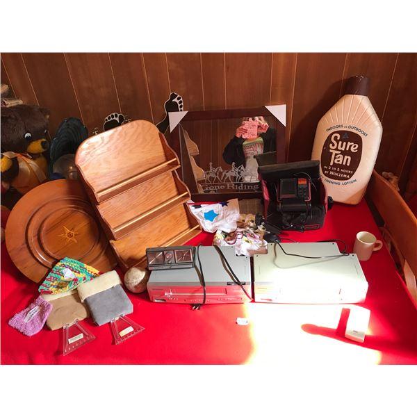 Sylvania & Magnavox VHS Recorders, Vagabond Travel-Mate Clock, Gone Riding Mirror, Wood Plate, Spice