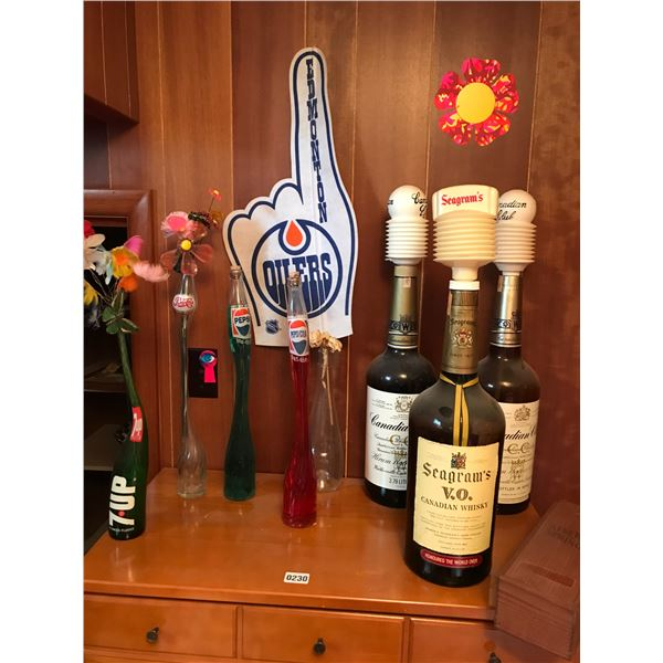 Large Swirl Z.UP & Coca-Cola Bottles & Huge Empty Whisky Bottles & Oiler's Banner