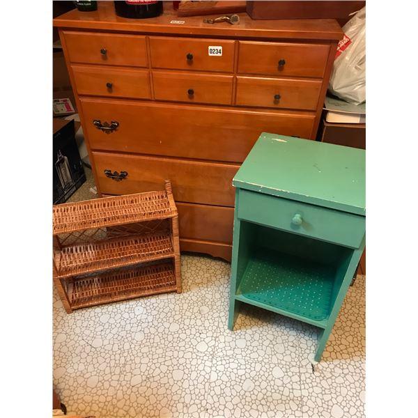 Wood 4 Drawer Dresser, Wood Side Table w 1 Drawer & Wicker Wall Shelf