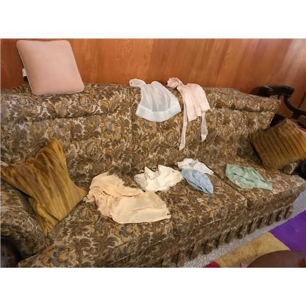 Vintage Upholstered Couch & Baby Clothes