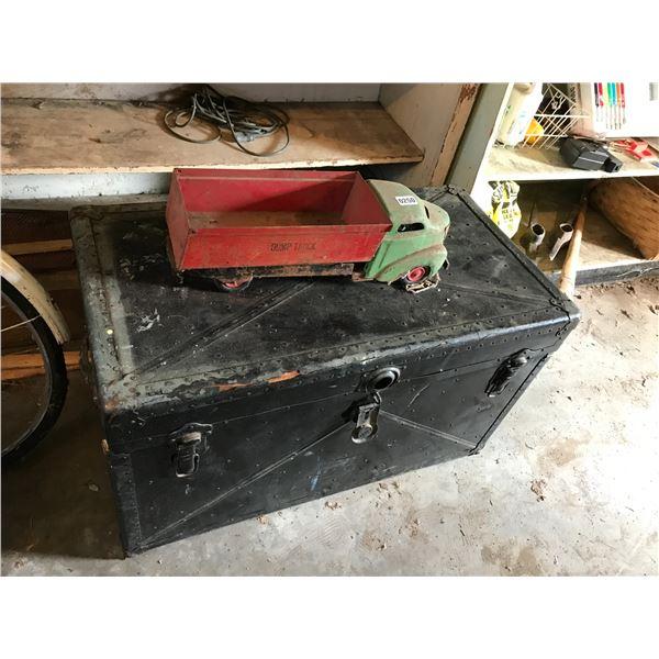 Antique Toy All Metal Dump Truck & Metal Steamer Trunk