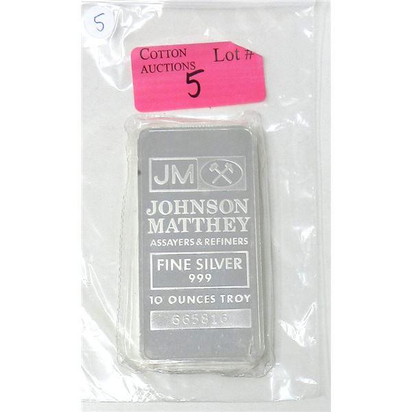 10 Oz. .999 Silver Johnson Matthey Bar