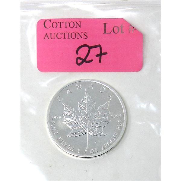 1 Oz .9999 Fine Silver 2009 Canada Maple Leaf Coin