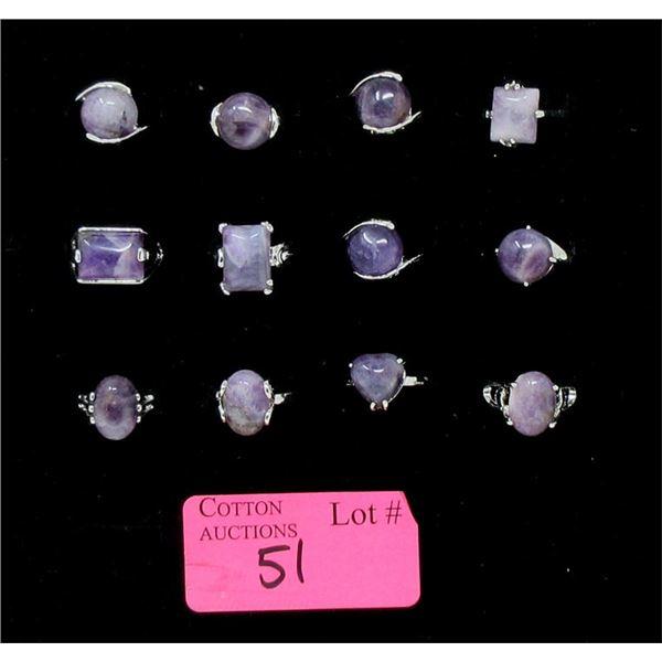 12 Assorted New Amethyst Gemstone Rings
