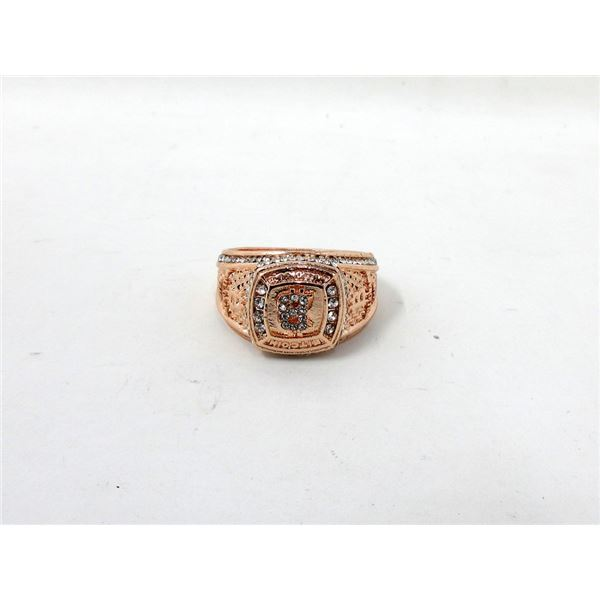 New Crystal Set Bit Coin Design Ring - Size 11