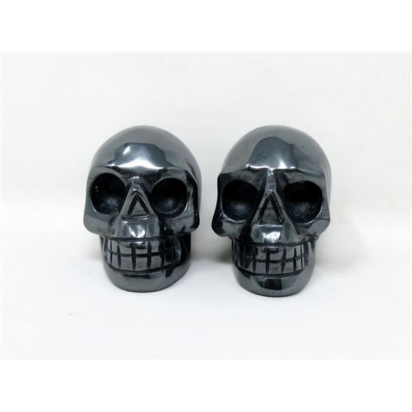 2 Carved Hematite Gemstone Skulls in Fitted Boxes