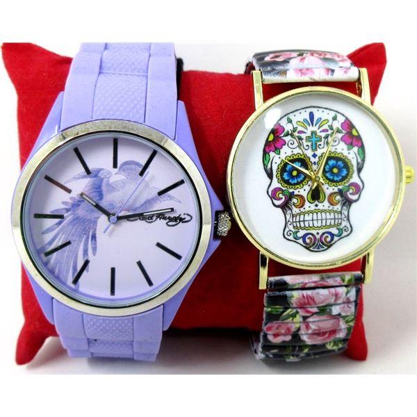 1 New Purple Ed Hardy & 1 New Sugar Skull Watch