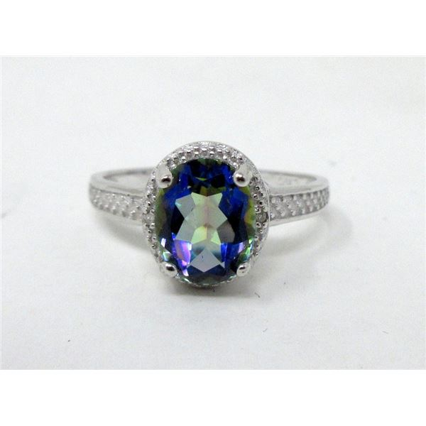 2.5 CT Mystic Blue Topaz & Diamond Ring