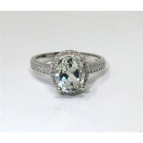 Green Amethyst & Diamond Cocktail Ring