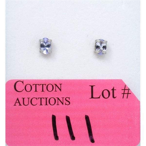 New 1 CT Tanzanite Sterling Silver Earrings