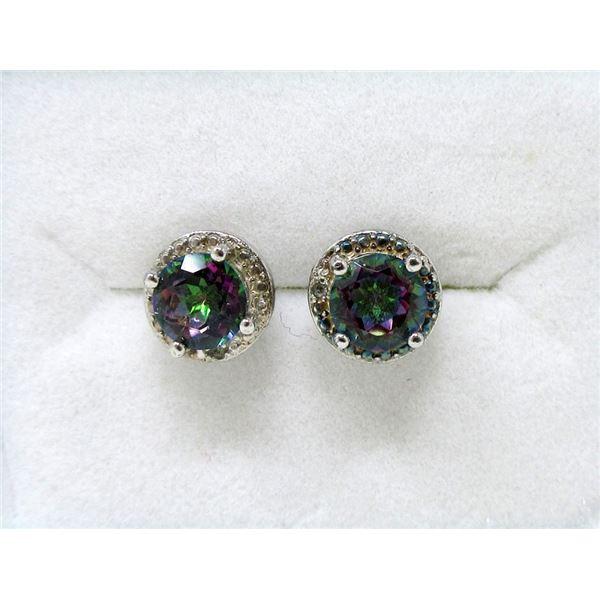 New Sterling Silver Mystic Topaz Stud Earrings