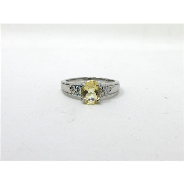 Sterling Silver Citrine & Diamond Cocktail Ring