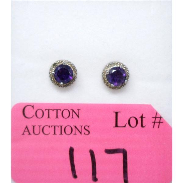 Sterling Silver Amethyst & Diamond Earrings