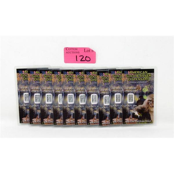 Ten 2.5 Grain .999 Fine Silver Bigfoot Bars