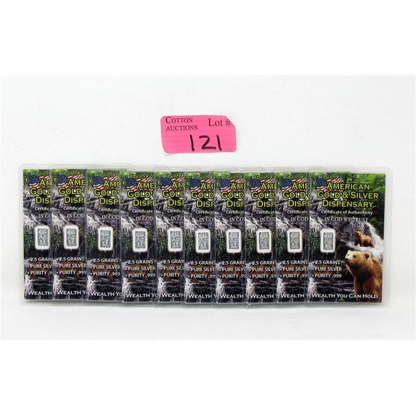 Ten 2.5 Grain .999 Fine Silver Grizzly Bear Bars