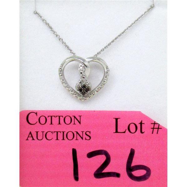 2 Tone Heart Design Diamond Necklace
