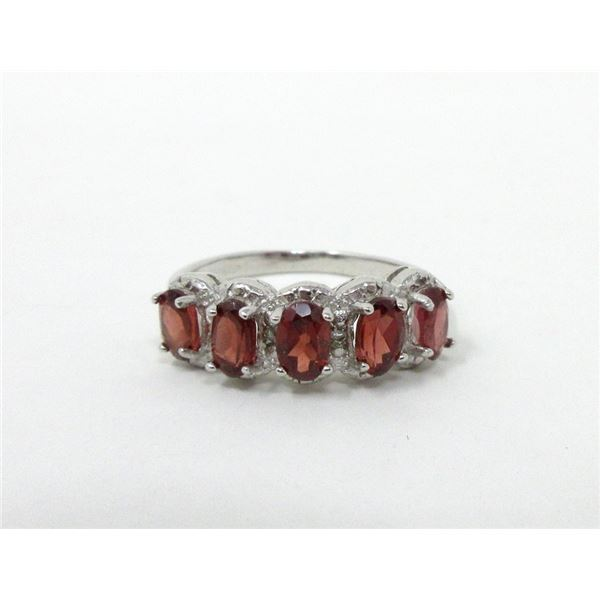 Sterling Silver Garnet & Diamond Ring