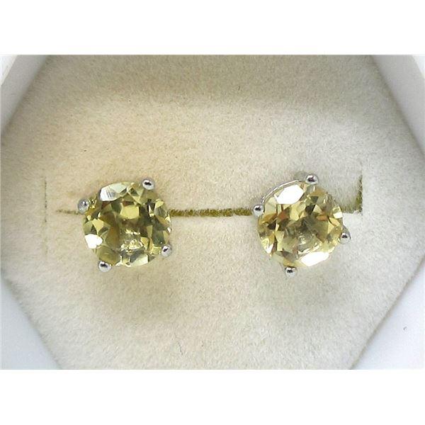 New Sterling Silver Citrine Stud Earrings