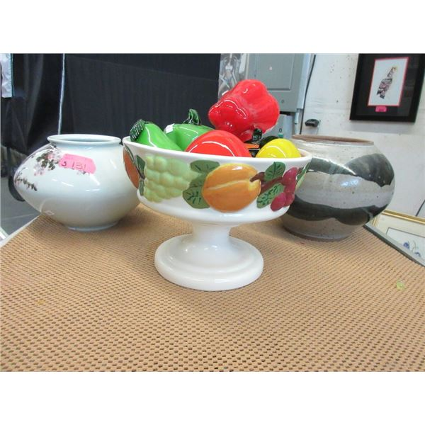 """7"""" Tall Pedestal Bowl with Glass Fruit & 2 Vases"""