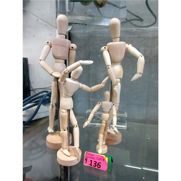 """4 Posable Wood Dolls - Tallest is 13"""""""