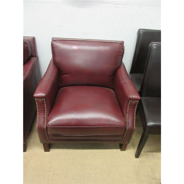 Burgundy Leather Arm Chair with Nail Head Detail