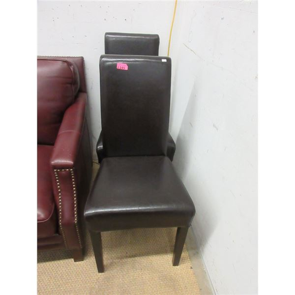 Pair of Brown Bonded Leather Dining Chairs