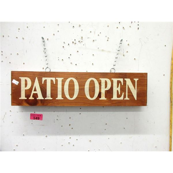 """Wood """"Patio Open"""" Sign - Double Sided"""