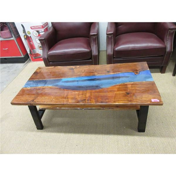 Hand Crafted Coffee Table with Acrylic Pour