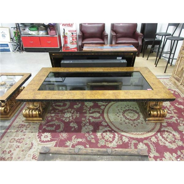 Ornate Glass Topped Coffee Table