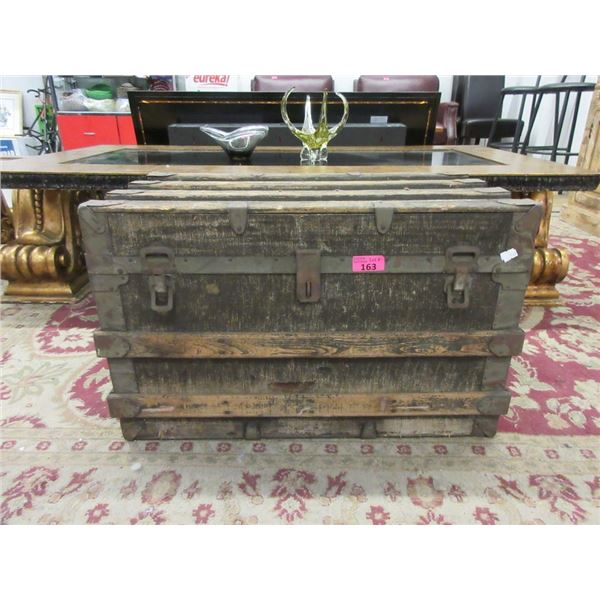 Vintage Wood Trunk and Contents