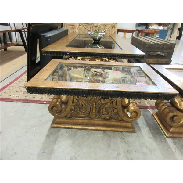 Ornate Glass Topped End Table