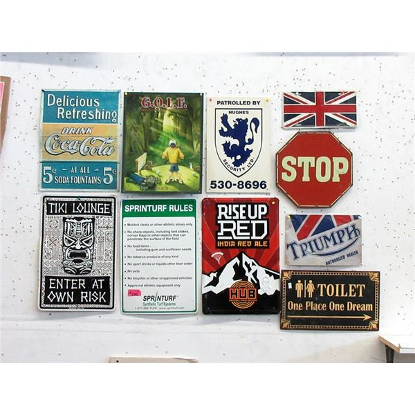 """10 Metal Novelty Signs - Largest is 12"""" x 18"""""""