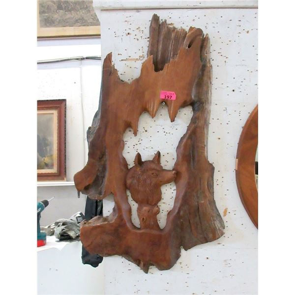Carved Teak Root Wolves Wall Art