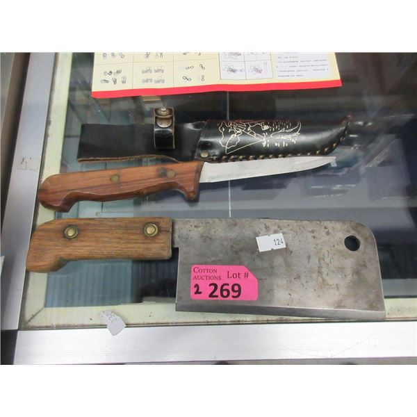 """Fish Knife with Sheath & 7"""" Cleaver"""