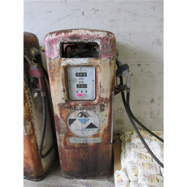 Vintage Gas Pump with Mohawk Sticker