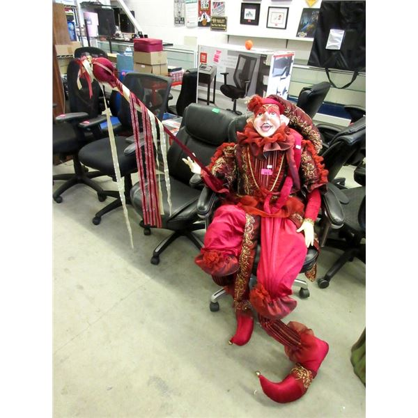 """70"""" Tall Poseable Red Jester"""