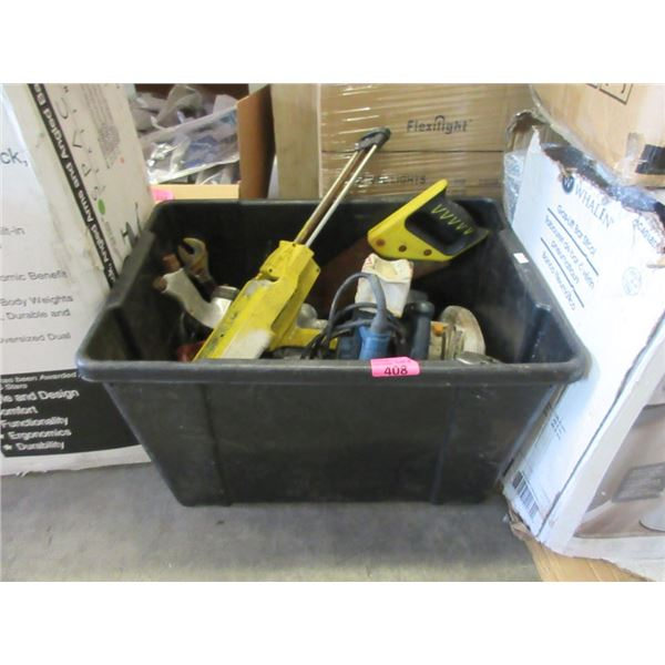 Tote of Assorted Electric, Hand & Air Tools