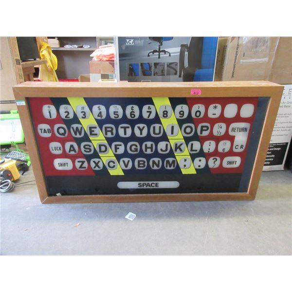 Wood Framed Illuminated Keyboard Display